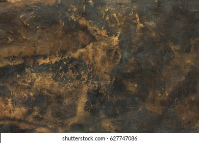 Dark aged brass plate texture, old metal background.