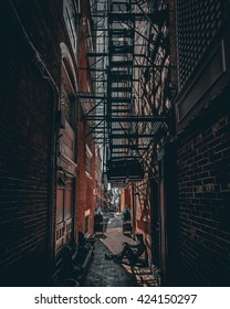 Dark alley in Boston, Massachusetts.