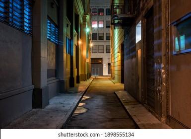 Dark alley at night downtown