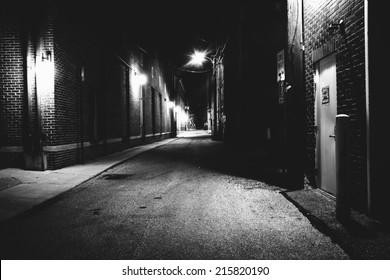 Dark alley at night in Hanover, Pennsylvania.