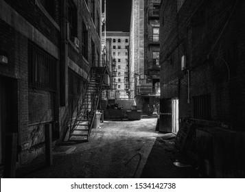 Dark alley at night Montreal