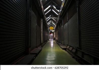 Dark alley way close the door steel backgrounds