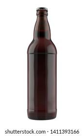 Dark amber beer bottle Bomber with liquid. 22oz 660 ml (651 ml) volume BN022. Isolated high resolution 3D render.