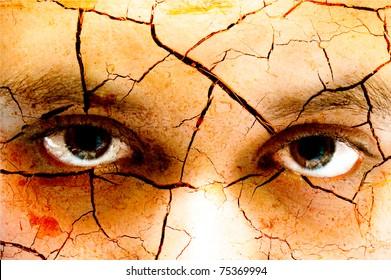 Dark art of the eyes of a girl
