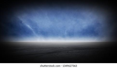Dark asphalt runway street floor with sky horizon