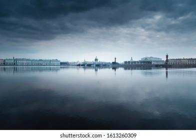 Dark atmospheric weather above the Neva river to Saint-Petersburg in Russia