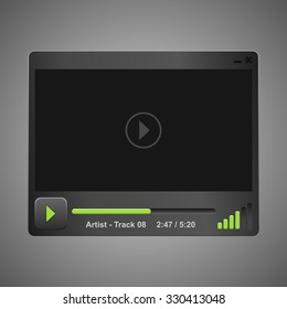 dark audio video player design for you app or web