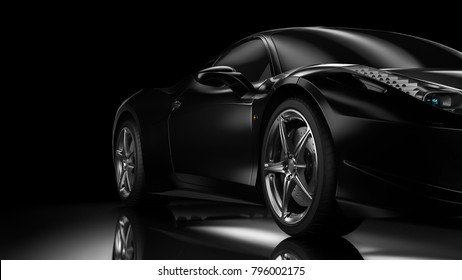 Dark background with car silhouette on right side. 3d Illustration