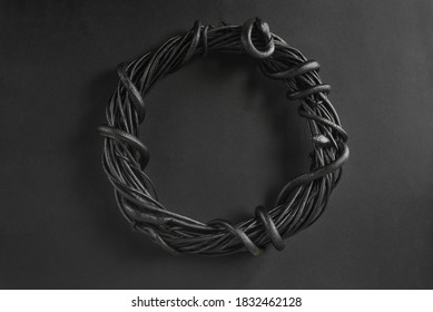 Dark background with a snake wreath for Halloween. Black snakes on a wreath of twigs.