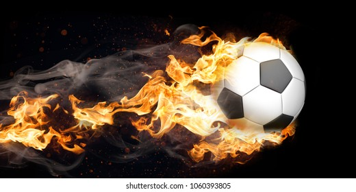 Dark banner with burning classic football.
