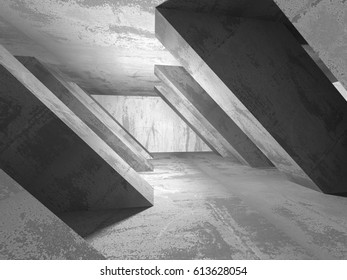 Dark basement empty room interior. Concrete walls. Architecture background. 3d render illustration