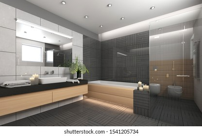 Dark Bathroom With Grey Ornament With Candels