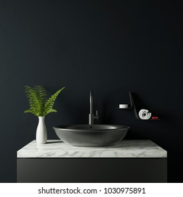 Dark bathroom with vase and plant 3d rendering