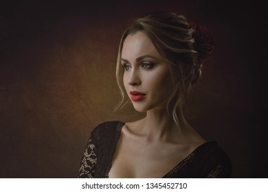 Dark Beauty. Retro styled female portrait with sensual and attractive young woman