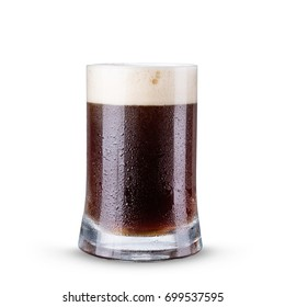Dark beer in a glass on a white background