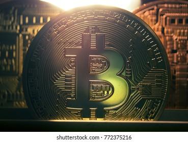 Dark bitcoin BTC coin macro closeup.