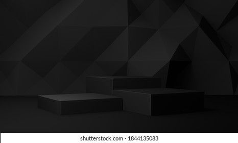 Dark black 3d background with geometric shapes, podium on the floor. Platforms for product presentation, background. Abstract composition design, showcase product is black , copy space - Shutterstock ID 1844135083