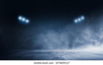dark black  blue concrete lighting stadium