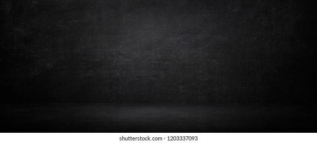 Dark and black chalkboard background, empty studio room and wall