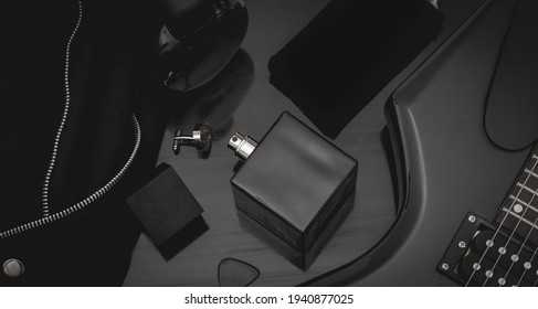 Dark black and matte colored moody flat lay template for mock up product photography. Pure black colors, exclusive premium brand placeholder image.
