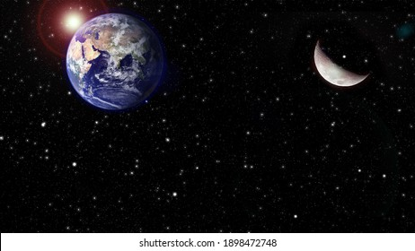 Dark black night scene with shining stars moon and blue earth. Elements of this image Furnished by NASA.