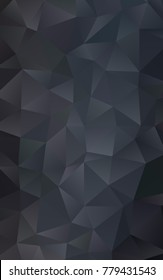 Dark Black vertical low poly background. Creative illustration in halftone style with gradient. The template can be used as a background for cell phones.