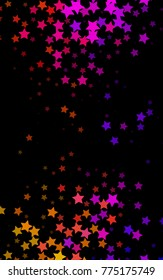 Dark Black vertical texture with beautiful stars. Stars on blurred abstract background with gradient. The pattern can be used for new year ad, booklets.