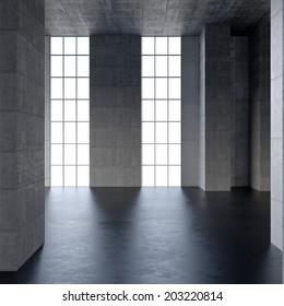 dark blank interior with black stone floor