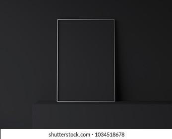 Dark blank poster on dark shelf. 3d rendering