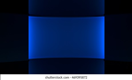 Dark blue background, Blue lighting. blue backlight wall. 3d. 3D rendering