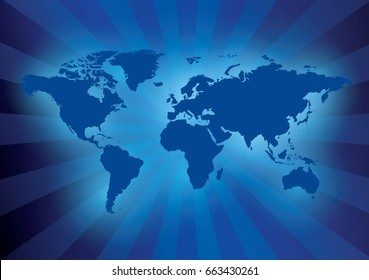 dark blue background with map of the world - with rays