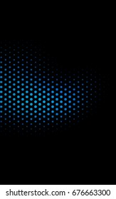 Dark BLUE banner with circles, spheres. Abstract spots. Background of Art bubbles in halftone style with colored gradient.