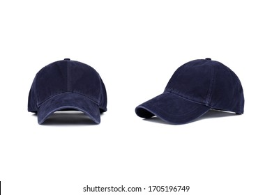 Dark blue baseball cap isolated on white background, front and side view