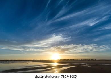 Dark blue Beach Sunset