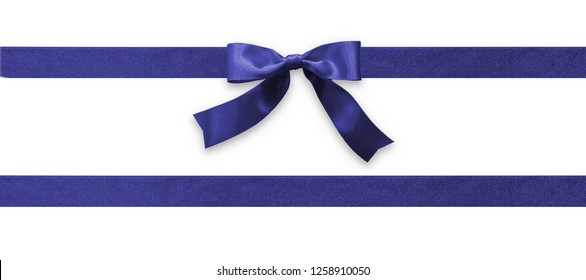 Dark blue bow ribbon band satin navy  fabric (isolated on white background with clipping path) for holiday gift box, greeting card banner, present wrap design decoration
