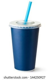 Dark blue cardboard cup with a straw. Isolated on a white.