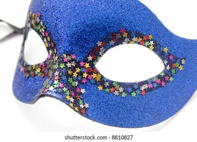 Dark Blue carnival mask isolated on white