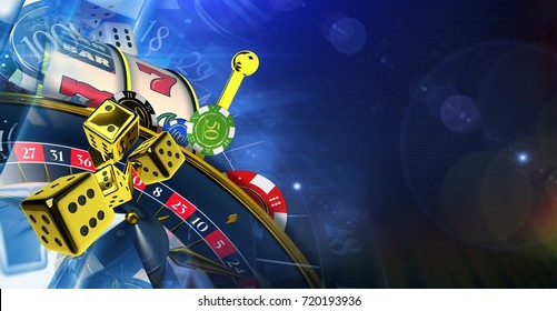 Dark Blue Casino Theme. 3D Rendered Illustration with Copy Space. Las Vegas Games Concept.