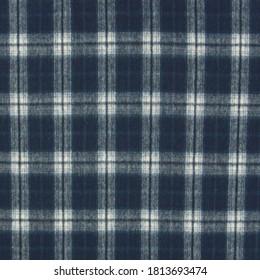 Dark blue checkered plaid wool fabric texture