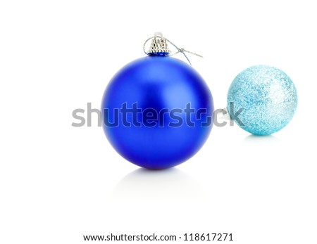 dark blue and blue christmas balls isolated on a white background - Navy Blue Christmas Ornaments
