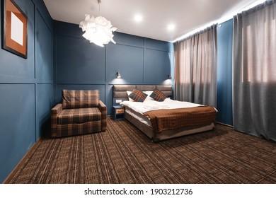 Dark blue color guest house bedroom interior design