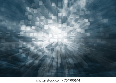 Dark blue colored dangerous stormy cloudy sky with abstract 3d square illustration background.