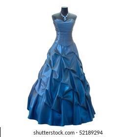Dark blue dress on a dummy on a white background