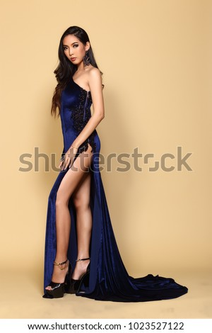 Dark Blue Evening Gown Ball Dress Stock Photo Edit Now 1023527122