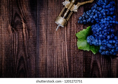 Dark blue grapes and ancient vine corkscrew on wooden background. New vintage wine background. Cabernet black grape, red wine made from such grapes.