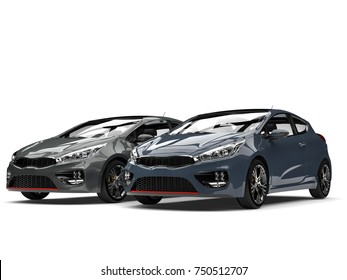 Dark blue and gray modern compact e-cars - 3D Illustration