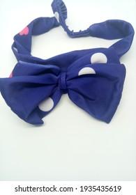 dark blue hair headband with white spots for kids