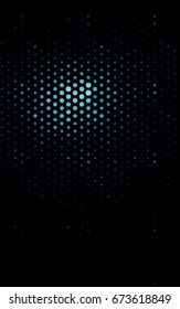 Dark BLUE illustration which consist of circles. Dotted gradient design for your business. Creative geometric background in halftone style with colored spots.