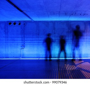 dark blue interior with spooky silhouettes.