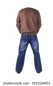 dark blue jeans, black leather shoes,brown sweater isolated on white background. Casual style